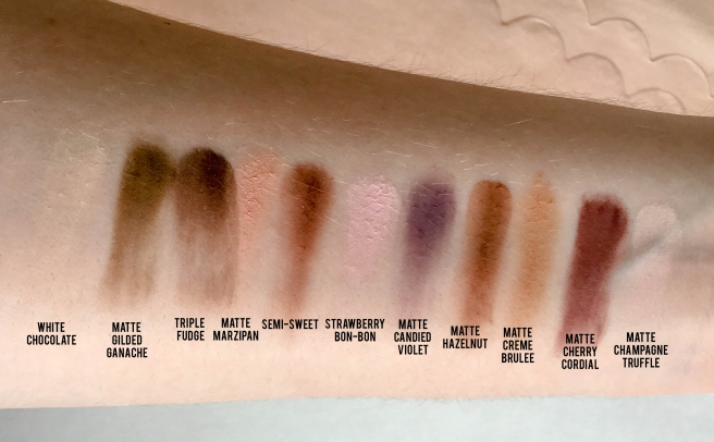 Too Faced Chocolate Chip Palette Swatches and Names