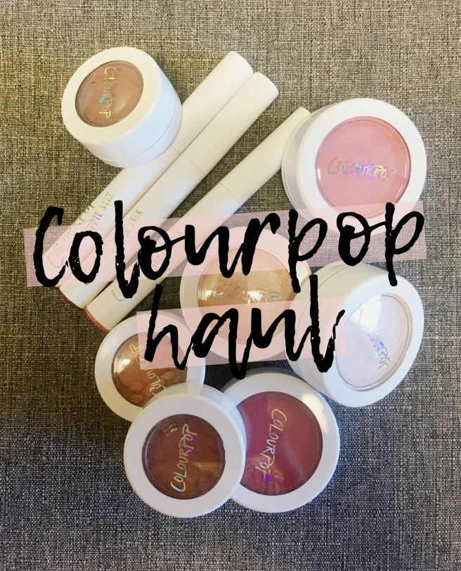 Colourpop haul. Swatches of lippie stixs, highlighters, blushes, and eyeshadows.